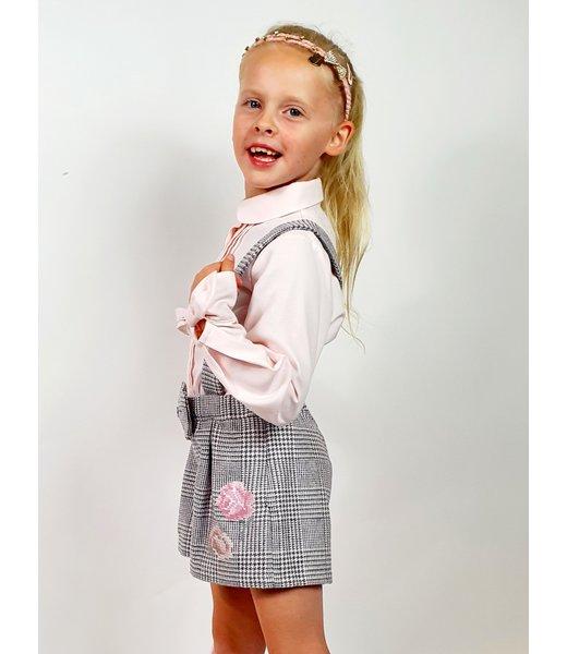 Girls Pink & Grey Shorts Set