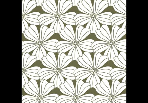 Hoeslaken FLOWERS Olive green