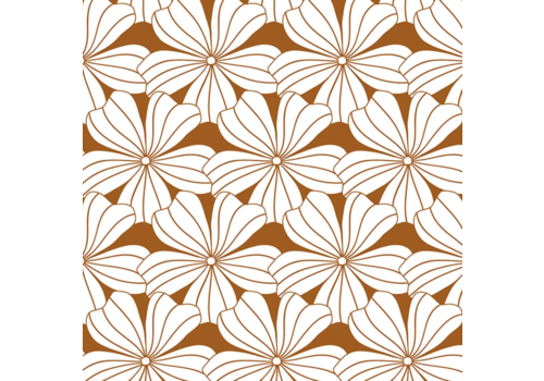 Hoeslaken FLOWERS Cinnamon brown