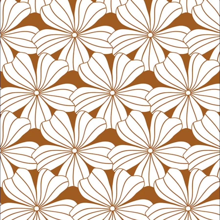 Hoeslaken FLOWERS Cinnamon brown-1
