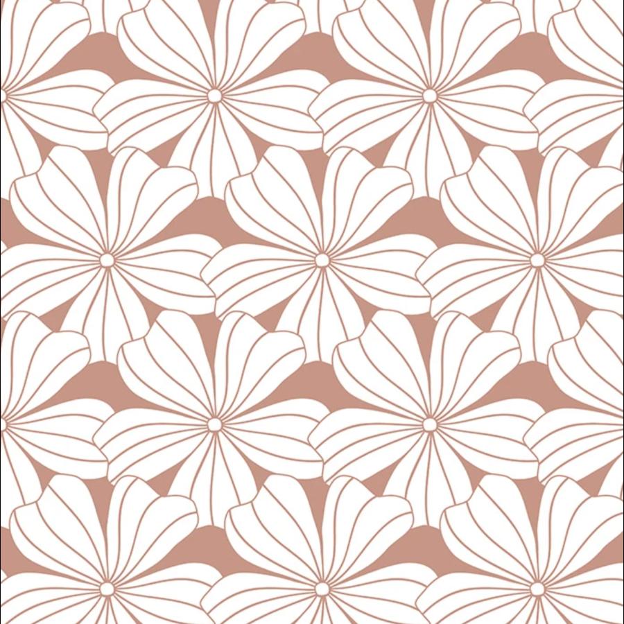 Hoeslaken FLOWERS Terracotta pink-1