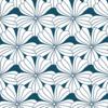 Swedish Linens Hoeslaken FLOWERS  Moroccan blue