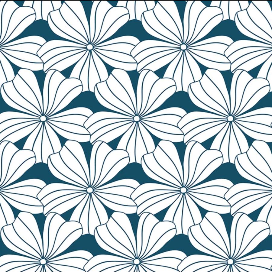 Hoeslaken FLOWERS  Moroccan blue-1