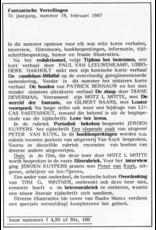 Fantastische Vertellingen, nr. 19, jrg 7, februari 1987