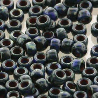 Matubo kralen 7/0 Opaque Blue Tavertine Dark (tube 7,5 gr)