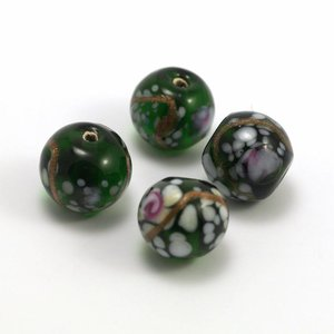Glaskraal 10 mm Groen/Roze/Wit 10 mm (per stuk)