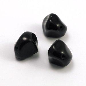 Glaskraal Nugget Zwart 15 mm (per stuk)