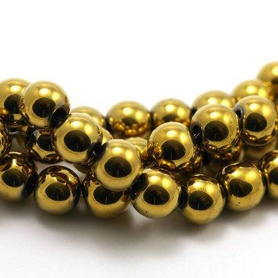 Hematiet kralen gold plated (8mm)