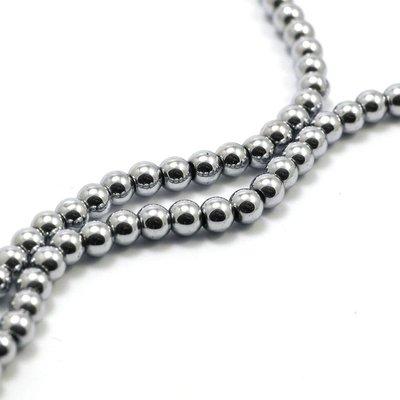 Hematiet kralen silver plated (4mm) (streng)