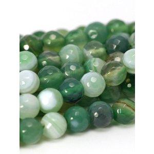 Agaat kralen facet rond 6 mm groen (streng)