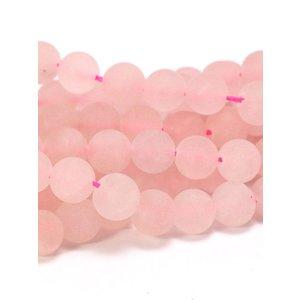 Rozenkwarts kralen 6 mm rond 'frosted' (streng)