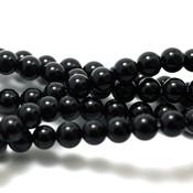 Agaat - zwarte agaat kralen 6 mm rond (streng)