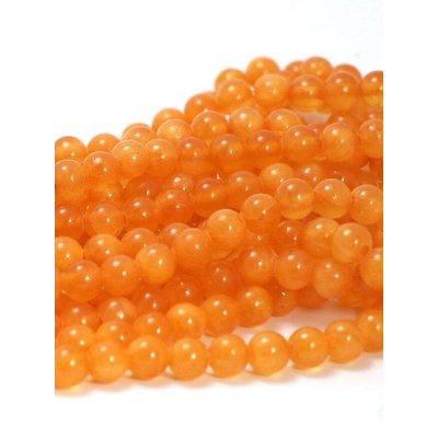 Jade kralen oranje 6 mm rond (streng)