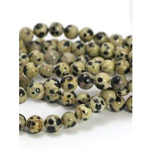 Jaspis -Dalmatiër kralen 6 mm rond (streng)