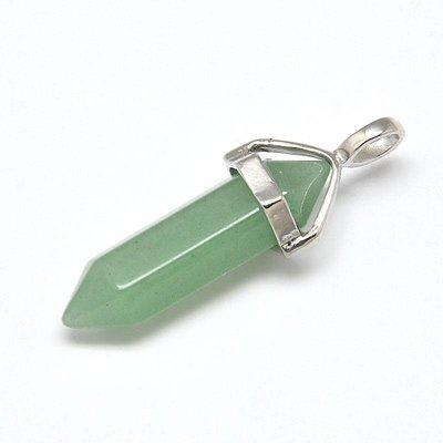 Aventurijn hanger met zilverkleurig oogje (per stuk) groen
