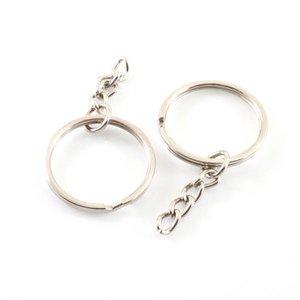 Sleutelring / sleutelhanger dubbel met ketting - zilverkleurig