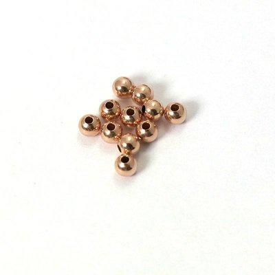 Rose Goldfilled 14kt kralen - rond 3 mm 'smooth'