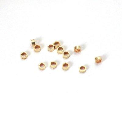 Goldfilled 14 kt Knijpkraal tube 2x1 mm - 10 stuks