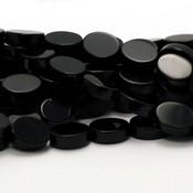 Onyx kralen plat ovaal ca. 7x10 mm (streng)