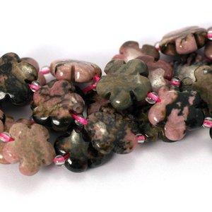 Rhodoniet kralen 15 mm bloem (streng)
