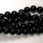 Agaat kralen - zwarte agaat 8 mm rond (streng)