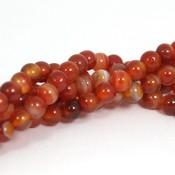 Agaat -gestreepte agaat 6 mm rond (streng)