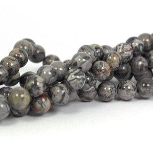Jaspis - silver leaf jaspis kralen 8 mm rond (streng)