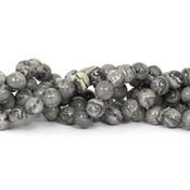 Jaspis - silver leaf jaspis kralen 6 mm rond (streng)