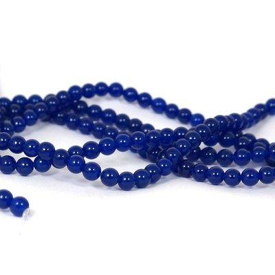 Jade kralen 6 mm rond midnight blue (streng)