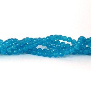 Jade kralen 6 mm rond cornflower blue (streng)