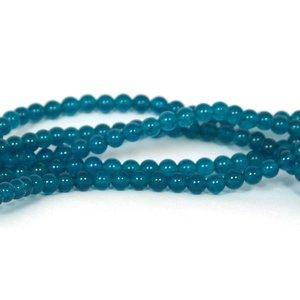 Jade kralen 6 mm rond prussian blue (streng)