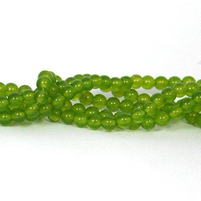 Jade kralen 6 mm rond yellow green (streng)