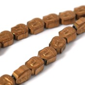 Hematiet kralen copper plated buddha (streng)