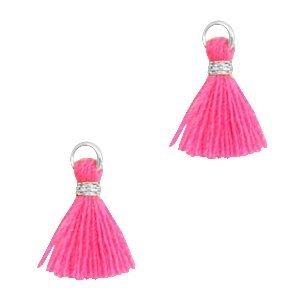 Mini kwastje 1cm zilverkleur neon pink