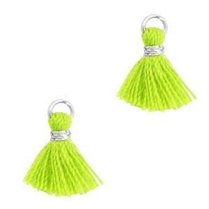 Mini kwastje 1cm zilverkleur neon green