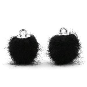 Pompom bedeltje faux fur 12 mm black