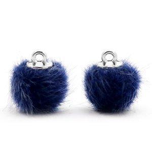 Pompom bedeltje faux fur 12 mm dark blue