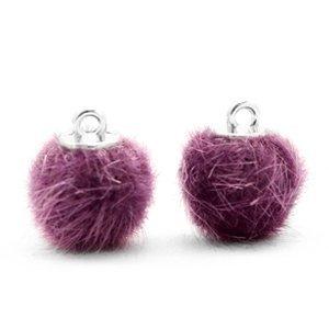 Pompom bedeltje faux fur 12 mm violet purple