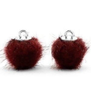 Pompom bedeltje faux fur 12 mm port red