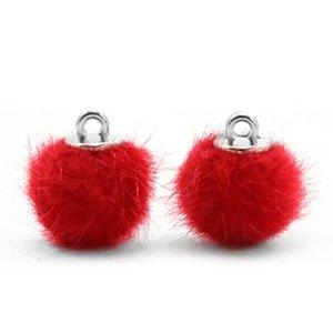 Pompom bedeltje faux fur 12 mm scarlet red