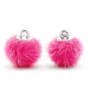 Pompom bedeltje faux fur 12 mm magenta pink