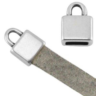 Eindkap vierkant voor 5 mm plat leer antiek zilverkleurig