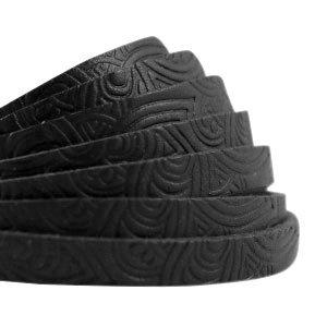 Plat leer 5 mm met mandala print nero black (18 cm)