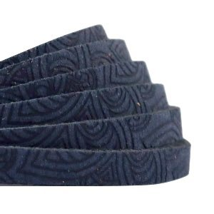 Plat leer 5 mm met mandala print dark denim blue (18 cm)
