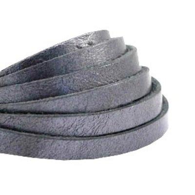 Plat leer 5 mm metallic grey silver (18 cm)