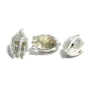 Metalen kralen 'ancient greek helmet' - zilverkleur (3st)