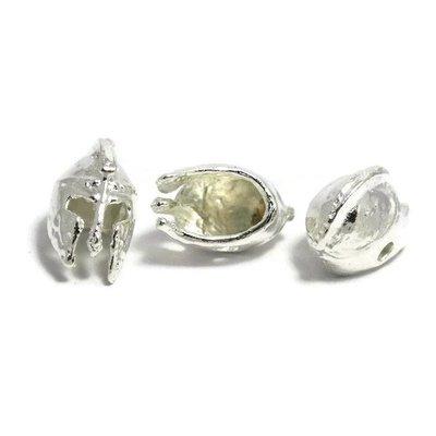 Metalen kralen 'Spartaanse helm' - zilverkleur (3st)