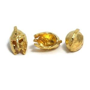 Metalen kralen 'ancient greek helmet' - goudkleur (3st)