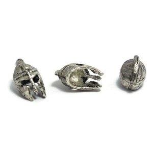 Metalen kralen 'ancient greek helmet' - antiek zilverkleur (3st)