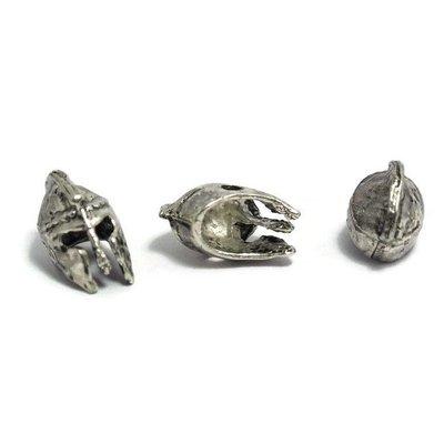 Metalen kralen 'Spartaanse helm' - antiek zilverkleur (3st)